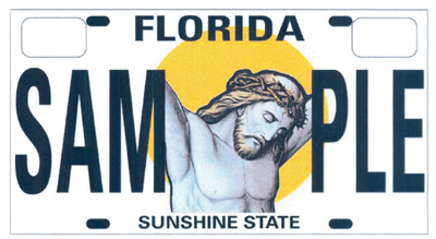 (RNS1-MAY04) A move to create specialized license plates in Florida that featured a crucified Christ failed to gather support before the close of the regular legislative session. For use with RNS-DIGEST-MAY04, transmitted May 4, 2009. Religion News Service photo courtesy Americans United for Separation of Church and State.