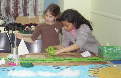 (RNS1-APR21) Jewish and Arab children from Jerusalem create scenes from the life of the patriarch Abraham, their common ancestor, during a co-existence project at the Bible Lands Museum. For use with RNS-JEWS-ARABS, transmitted April 21, 2010. RNS photo by Michele Chabin.