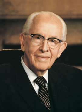 (RNS1-NOV18) Ezra Taft Benson, who served as president of the Church of Jesus Christ of Latter-day Saints from 1985 to 1994, was an avowed anti-communist and a fan of the John Birch Society. For use with RNS-BENSON-FBI, transmitted Nov. 18, 2010. RNS photo courtesy LDS Church.