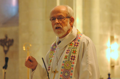 (RNS) The Rev. Mark Hanson, presiding bishop of the Evangelical Lutheran Church in America, delivers a sermon at the Lutheran Church of the Redeemer in Jerusalem. Religion News Service file photo courtesy of ELCA News Service.
