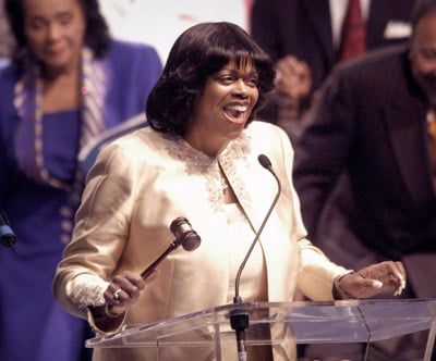 (RNS) The Rev. Suzan Johnson Cook opens the 89th annual Hampton University Ministers' Conference in 2003. Cook, an American Baptist minister from the Bronx, N.Y., was named by President Obama as U.S. Ambassador-at-Large for International Religious Freedom. RNS file photo by Mike Heffner.