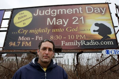 (RNS2-APR25) Bob James of Morristown, N.J., organized a grass roots campaign to fund billboards about a pending judgment day on May 21, 2011. For use with RNS-MAY21-DOOMSDAY, transmitted April 25, 2011. RNS photo by Noah K. Murray/The Star Ledger.