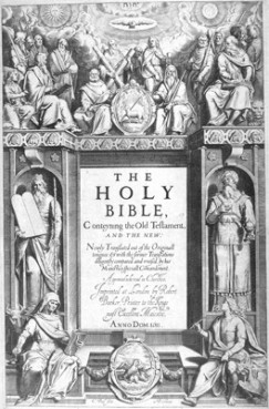The frontispiece to the original 1611 King James Bible shows the Twelve Apostles at the top, with Moses and Aaron flanking the central text. In the four corners are evangelists Matthew, Mark, Luke, and John. RNS file photo