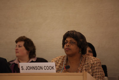 (RNS5-JUN14) Ambassador-at-Large Suzan Johnson Cook addresses the U.N. High Commissioner for Human Rights in Geneva on June 14, 2011. For use with RNS-COOK-UN, transmitted June 14, 2011. RNS photo courtesy U.S. Mission to Geneva.