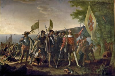 "(RNS1-OCT04) Christopher Columbus, seen here in ""The Landing of Columbus"" by John Vanderlyn in the Capitol Rotunda, is best known as an explorer, but a new book argues he may have been on a quest to find gold to finance another crusade against Muslim control of Jerusalem. RNS photo courtesy Architect of the Capitol/Library of Congress."
