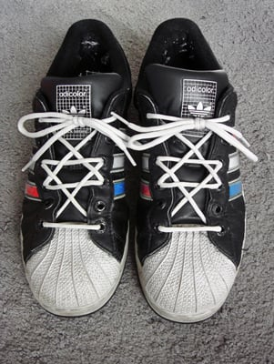 (RNS2-OCT05) Observant Jews do not wear leather to Yom Kippur services, prompting some to don Crocs, sandals or synthetic fibers. For use with RNS-JEWS-SHOES, transmitted Oct. 5, 2011. RNS photo courtesy Jeff Rutzky/Ian's Shoelace Site.
