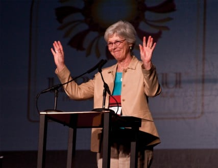 (RNS1-DEC05) Bonnie Anderson, president of the Episcopal Church's House of Deputies, is concerned that a plan to downsize the church's internal bureaucracy and streamline operations will mute the voice of the laity. For use with RNS-MAINLINE-REFORM, transmitted Dec. 5, 2011. RNS photo courtesy Jim De La/Episcopal News Service.