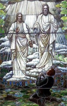 Mormons believe Joseph Smith received personal revelations from Jesus Christ and God the Father -- two separate beings in Mormon theology -- as seen in this stained glass window. For use with RNS-MORMON-CHRISTIAN, transmitted Jan. 19, 2012.