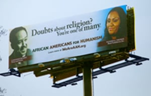 African Americans for Humanism have erected billboards in several cities featuring black icons, including Langston Hughes on this billboard in Atlanta, alongside African-American atheists.