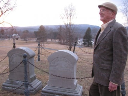 Dave Powell, D.L. Moody's great-grandson, vists his great-grandfather's grave in Northfield, Mass., as Christian institutions sumbit proposals for the former Northfield Seminary for Young Ladies that Moody founded in 1879.