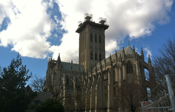 Scaffolding crowns the central tower of Washington National Cathedral, which was heavily damaged by a rare East Coast earthquake in August 2012.  RNS photo by Annalisa Musarra