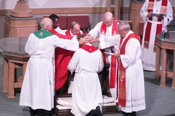 Lutheran bishops ordain the Rev. John Bardosky in 2011 as the new leader of the North American Lutheran Church, which broke away from the Evangelical Lutheran Church in America over the ELCA's decision to allow noncelibate gay clergy and other issues.