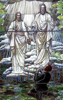 Mormons believe Joseph Smith received personal revelations from Jesus Christ and God the Father -- two separate beings in Mormon theology -- as seen in this stained glass window.