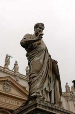 (RNS) Statue of the Apostle Peter, by Giuseppe de Fabris, St. Peter?s Square, Vatican City.