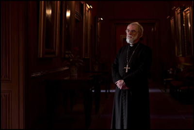 Archbishop of Canterbury Rowan Williams, seen during the filming of ``In God's Name,'' which aired on CBS in 2007. RNS file photo courtesy Stephan Crasneanscki.