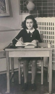 Anne Frank, photographed at school before her family went into hiding from the Nazis in 1942.