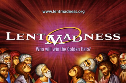 The logo of Lent Madness, begs the question, `Who will win the Golden Halo?'