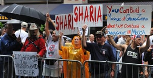 Anti-Shariah demonstrators rally against a proposed mosque near Ground Zero in New York.