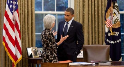 President Barack Obama talks with Health and Human Services Secretary Kathleen Sebelius, whose department is charged with implementing new rules that mandate employers to provide contraception coverage to employees.