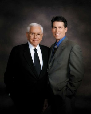 Crystal Cathedral founder Robert H. Schuller, left, parted ways with his son, Robert A. Schuller, right, over the future direction of the ?Hour of Power? television program in 2008.