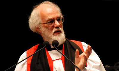Archbishop of Canterbury Rowan Williams preaches at a 2007 New Orleans worship service to mark the city's recovery from Hurricane Katrina. Williams was meeting with Episcopal  bishops to discuss their positions on homosexuality and their place in the worldwide Anglican  Communion.