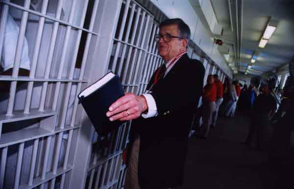 Charles Colson inside a prison. Photo courtesy of Prison Fellowship