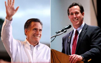 (Left) Mitt Romney speaking to supporters at a grassroots early voting rally in Mesa, Arizona. (Right) Rick Santorum speaking to supporters at a rally in Phoenix, Arizona.