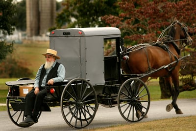 An Amish man at a farm  in Nickel Mines, Pa.