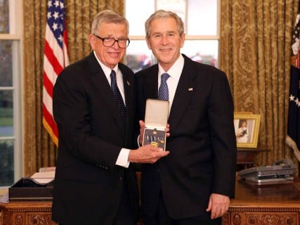 President George W. Bush awarded former Nixon administration counsel and Prison Fellowship founder Charles Colson with the Presidential Citizens Medal in 2008.