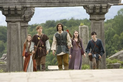 Ben Barnes, center, plays Prince Caspian in ``The Chronicles of Narnia: Prince Caspian.'' From left, Georgie Henley, William Moseley, Anna Popplewell and Skandar Keynes play the four Pevensie children, who return to Narnia after 1,300 years.