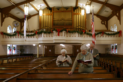 Members of St. Stephan's United Church of Christ in Newark, N.J., worship on a  Sunday morning.