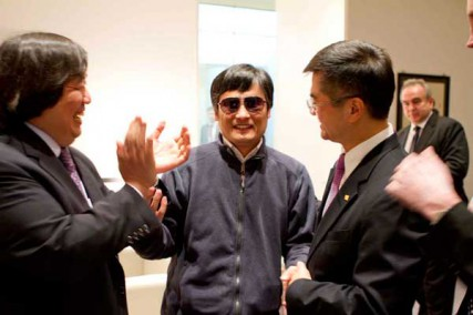 U.S. Ambassador to China Gary Locke, right, meets with Chinese dissident Chen Guangcheng, center, at the U.S. Embassy in Beijing, China, on May 1, 2012.