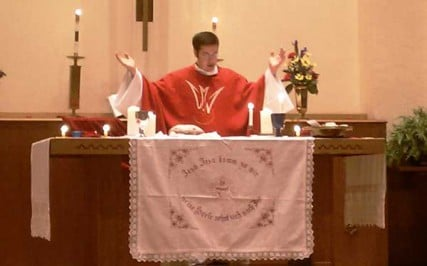 Rev. James Semmelroth Darnell performs a service at St. John United Church of Christ in St. Clair, MO.