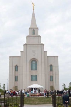 The Kansas City, Missouri Mormon temple welcomed visitors during their open house on April 28, 2012 before being formally dedicated on Sunday, May 6. The temple will serve some 45,000 Latter-day Saints in 126 congregations throughout Kansas, Missouri and small portions of Oklahoma and Arkansas.