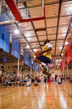 Hanif Madyun (Los Verdugos) goes up for a dunk during the dunk contest with the Muslim Basketball League in Southern California.