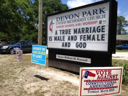 Devon Park United Methodist's sign supporting the amendment on election day, as the church doubled as a polling place for that neighborhood.