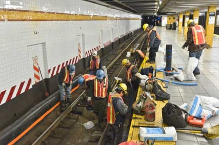 Eight hundred workers from MTA New York City Transit performed critical maintenance tasks on the A, C and E subway lines each night from April 23-27, 2012.