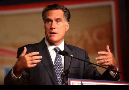 Former Governor Mitt Romney speaking at CPAC FL in Orlando, Florida.