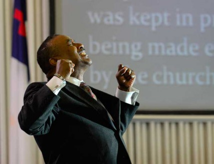 Pastor Robert J. Anderson preaches at Colonial Baptist Church in Randallstown, Maryland, on Sunday, June 10, 2012.