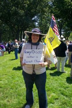 """Diane Sachs of Chantilly, Va., (pictured here) said her Catholic faith requires her to take a stand against the birth control mandate. """"We have the admonition, 'Don't be cafeteria Catholics.' Well we're not cafeteria constitutionalists. It's all a very important package,"""" she said."""