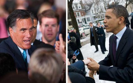 (Left) Governor Mitt Romney during a campaign stop in Philadelphia. (Right) Obama greets friends and neighbors as he arrives to vote at his polling place in Kenwood.