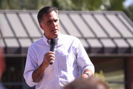 Mitt Romney speaking to supporters at a rally in Tempe, Arizona on April 20, 2012.