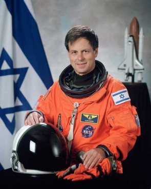 Ilan Ramon, Israel's first astronaut and the son of a survivor of Auschwitz, carries a Torah with him into space, given to him by another Holocaust survivor.