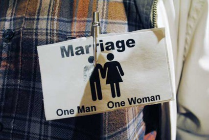 Many at a recent Spokane, Wa. City Council meeting wore stickers opposing same-sex marriage.