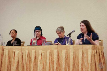 (Left to right) Sikivu Hutchinson, Rebecca Watson, Ophelia Benson and Jennifer McCreight speak on a panel about feminism and atheism at the Women in Secularism Conference in May 2012.