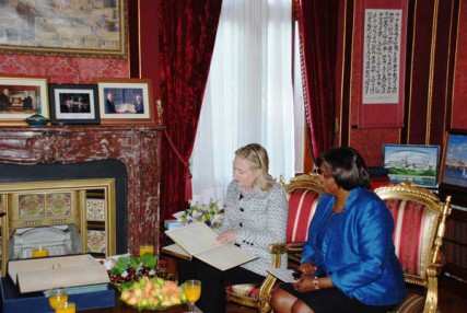 U.S. Secretary of State Hillary Rodham Clinton meets with Ambassador-At-Large for International Religious Freedom Suzan Johnson Cook in Istanbul, Turkey, on July 15, 2011.