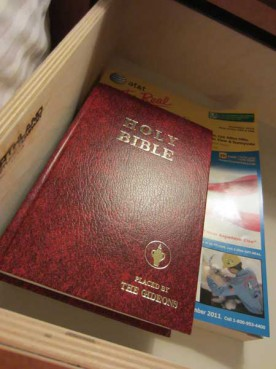 The Holy Bible placed in a hotel by the Gideons.