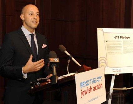CEO Alan van Capelle speaks during last week's launch event for Bend the Arc Jewish Action.