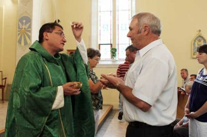 Rev. Carlos M. Bohorquez performs the Eucharist with Joseph Haegele and other church members at St. Gertrude Parish in Grantfork, Ill., on Sunday, July 15, 2012.