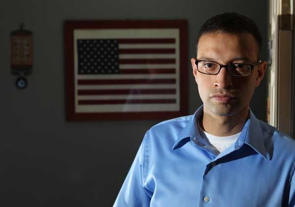 Syed Farhaj Hassan, 35, who is now the first-named plaintiff in a lawsuit filed last week by Muslims Advocates group (on behalf of NJ Muslims) vs. the NYPD is photographed in his home in Helmetta, NJ on June 15, 2012.
